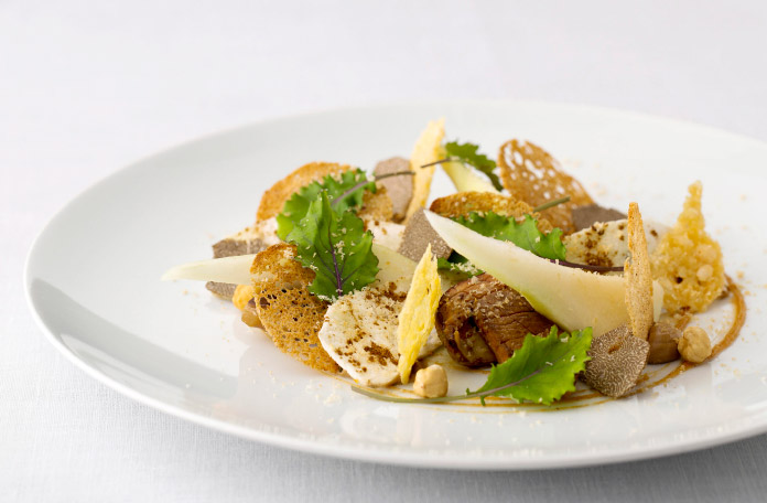 New Forest wild mushroom, roasted hazelnut and pear salad