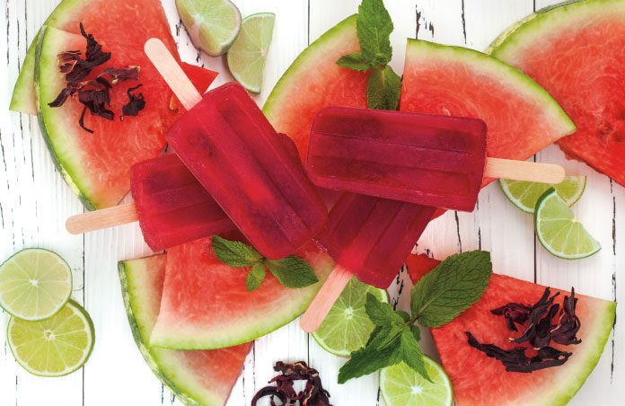 Sorrel and watermelon popsicles